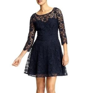 navy three-quarter sleeved lace dress